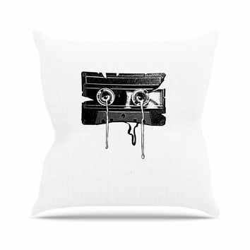 "BarmalisiRTB ""Cassette Memories"" Black White Outdoor Throw Pillow"