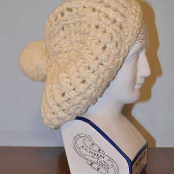 Vintage Knit Wool Hat Beret Beanie Winter Hat with PomPom Off-White Cream Ivory Handmade in Scotland Retro Warm Snow Hat Toboggan