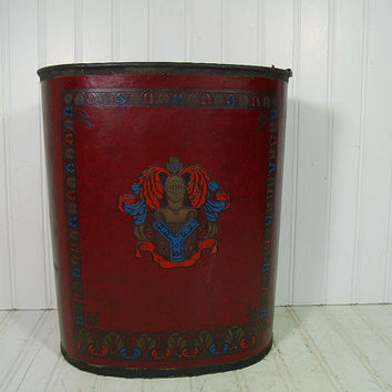 Vintage Two Tone Burgundy Leather with Embossed Crest Ornate Oval Metal Waste Basket - MidCentury Masculine Cordovan Cover Library Trash Bin