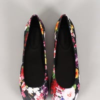 Simple Floral Round Toe Ballet Flat