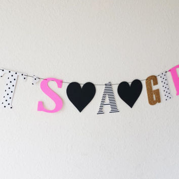 IT'S A GIRL banner, Kate Spade inspired! Baby shower, special occasion, baby girl, Girl baby shower, new addition