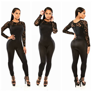 Black Long Sleeve Lace Insert Jumpsuit