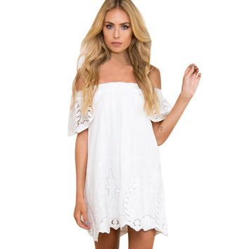 Ladies Fashion Off Shoulder Cotton Mini White Dresse