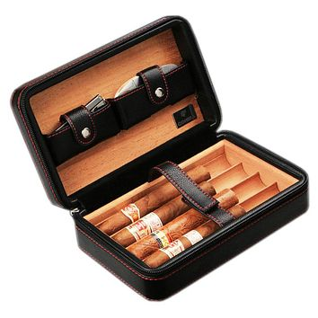 Cohiba Cigar Case Holder Zipper Leather + Wood Storage Humidor Gift Box With 1 pcs Cigar Cutter (Not Include Lighter)