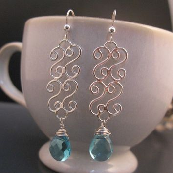 Sterling silver dangle earrings, Silver filigree earrings, Blue teardrop earrings, Christmas gift for mom, sister, girlfriend, wife