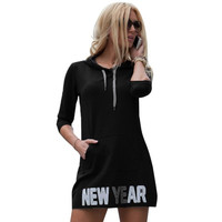 New Arrival Women's Casual Loose Hooded Lacing Mini DressThree Quarter Sleeve New Year New Boy Letter print Dresses #1123 GS