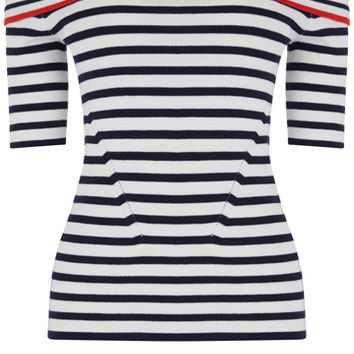 Stripe SS bardot knit top