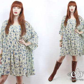 Vintage 90s Cream Floral Dress 3X 4X 5X 90s Grunge Dress 90s Floral Dress  Floral Mini Dress Plus Size Dress Plus Size Vintage
