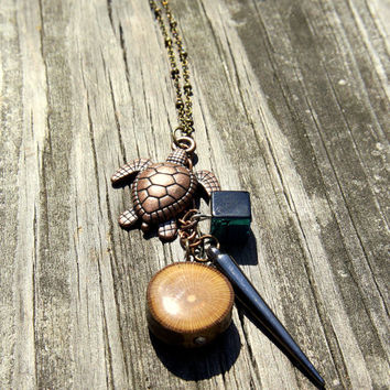 Layered Turtle Necklace| Sycamore Tree Wood Slice| Ocean Pendant| Turtle and Spike Charm| Long Beaded Brass Chain| Wooden Charm Pendant