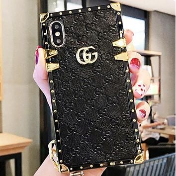 GUCCI Fashion New More Letter Leather Women Men Protective Cover Phone Case Black