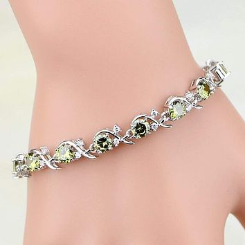 Streamline Design Dark Yellow Cubic Zirconia Bracelets 925 Sterling Silver