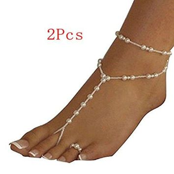AUGUAU Tonsee Pearl Barefoot Sandal Foot Jewelry Anklet Chain