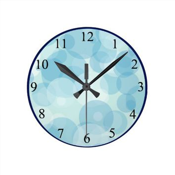 Blue Bubbles Round Clock