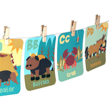 "Individual folk-art style animal ABC flash card / alphabet flash card / 5"" by 7"" or 3"" by 4.2"" / pick your size and your letter or letters"