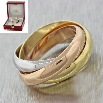 OLD Cartier 18k White Yellow & Pink Gold Trinity Band Ring 56 with Box