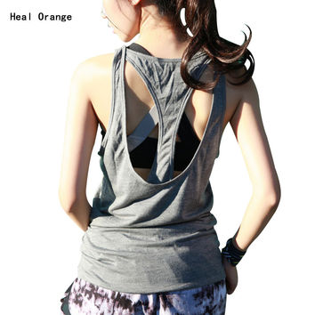 Heal Orange Women Yoga Shirts Dry Fit Women Vest For Gym Yoga Tanks Tops For Running Fitness Gym Sports Tops For Women Clothing