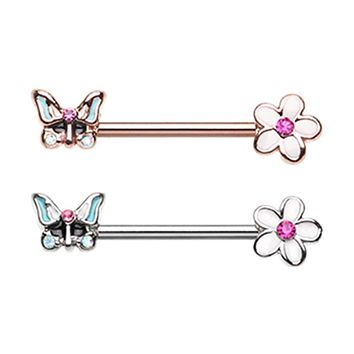 Rose Gold & Silver Spring Butterfly Flower Nipple Barbell Ring