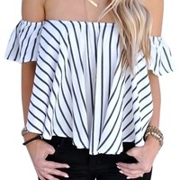RoseSummer Sexy Off Shoulder Black And White Stripe Top Blouse T-shirt For Women