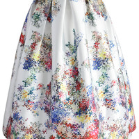 Pixel Flowers Midi Skirt in Pearl-white White