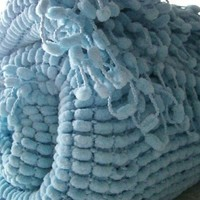 Knitted Super Soft Handmade  Pompom Blanket - Baby Boy Blanket - Blue Nursery Blanket - Photo Prop