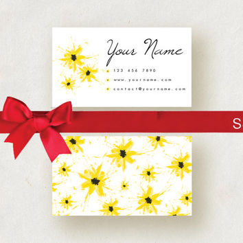 Custom Business Card Template Printable editable business card floral design, digital business card, photoshop business card, yellow flowers