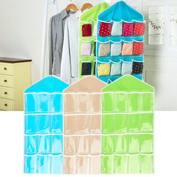 Multifunction Foldable 16 Pockets Hanging Bag Socks Shoe Toys Underwear Storage Tidy Wall Hanging Closet Organizer