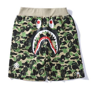 BAPE AAPE Trending Women Men Stylish Green Camouflage Shark Mouth Print Elastic Waistband Sport Shorts I13165-1