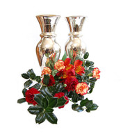 """PAIR Antique Mercury Glass 12"""" Vases Classic Victorian Hourglass Vases Collectibles Home Decor Traditional Christmas & Holiday Decor"""