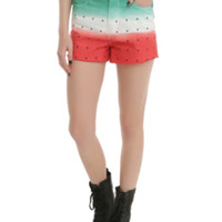 LOVEsick Skull Watermelon High-Waisted Cut-Off Shorts