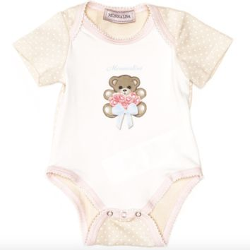 Monnalisa - Baby Girls Bear Jersey Cotton Onesuit, White - 0M