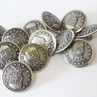 "US MILITARY BUTTONS, set of 12 buttons, vintage metal buttons, 1 1/8"" buttons, craft supplies, sewing supplies, vintage metal findings"