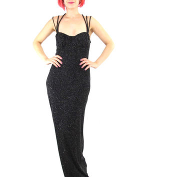 90s Sparkly Black Bodycon Evening Gown Strappy Black Glitter Bustier Maxi Dress Glam Prom Gown Cocktail Party Criss Cross Straps Dress (M)