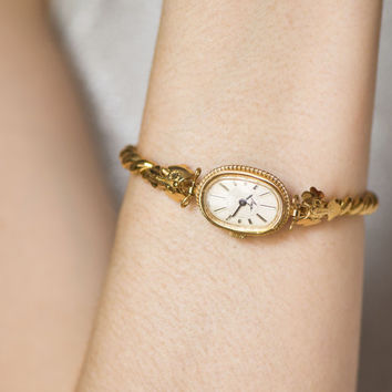 Gold plated cocktail watch bracelet, posh ladies wristwatch Ray, quality mark USSR watch, oval women's watch, small wrist woman watch gift