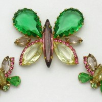 Vintage HATTIE CARNEGIE Rhinestone Glass Large Butterfly Brooch and Earrings