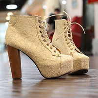 2012 Korean gorgeous lace chalaza coarse High Wood heeled Ms. Ankle boots