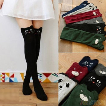 Autumn Winter Thigh High Stockings Women Girls Female Stockings Cat Dog Fashion Knitting Boots Stockings KH934144