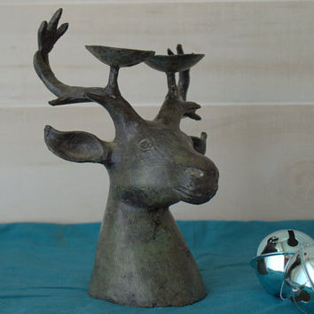 Rustic Bronze Metal Deer Head Candle Holder
