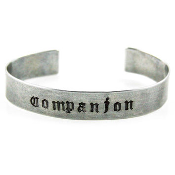 Companion - Doctor Who - Metal Stamped Bangle - Aluminum - Sterling Silver - Copper - Brass
