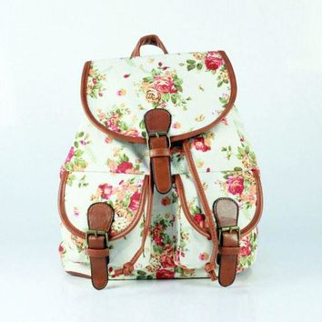 Day-First™ White Floral Cute Large College Backpacks for School Bag Canvas Daypack Travel Bag