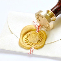 Olive Branch Wreath Gold Plated Wax Seal Stamp x 1