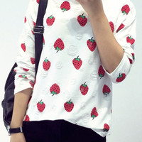 White Strawberry Print Ripped Details Sweatshirt