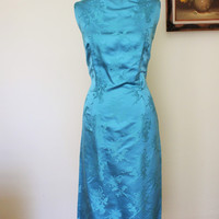Vintage 1960s Satin Wiggle Cocktail Dress, Marshall Field Company, Dynasty Made in Hong Kong