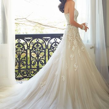 Sophia Tolli Y11552 Prinia Tulle Hand Beaded Lace Appliques