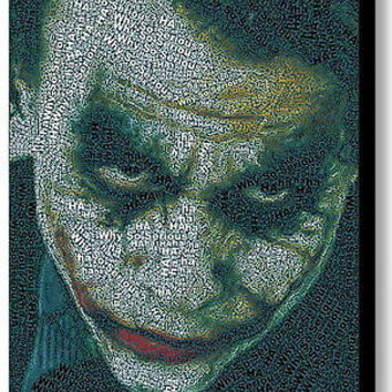 Batman The Dark Knight Joker Word Mosaic Framed 9X11 Limited Edition Art w/COA