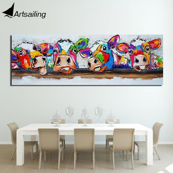 Colorful Four Cows Animals Graffiti Oil Painting printed Canvas Prints for Wall Art Picture for Bedroom Living room Home Decor