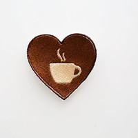 Coffee Mug Latte Cup Love Heart IronOn Patch