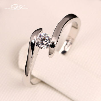 AAA+ Cubic Zirconia Diamond Engagement Rings Platinum Plated o The Finger Ring Wedding Jewelry For Men and Women DFR198