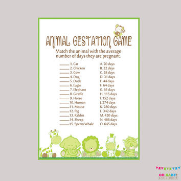 Animal Pregnancy Game  - Safari Baby Shower Animal Gestation Game - Printable Game - Safari Baby Animals Match Game Safari Shower BS0001-G
