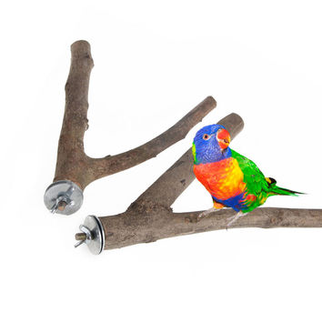 1Pc Pet Parrot Raw Wood Fork Stand Rack Toy Hamster Branch Perches For Bird Cage