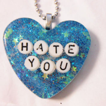 Hate You Glitter Galaxy Heart Resin Necklace